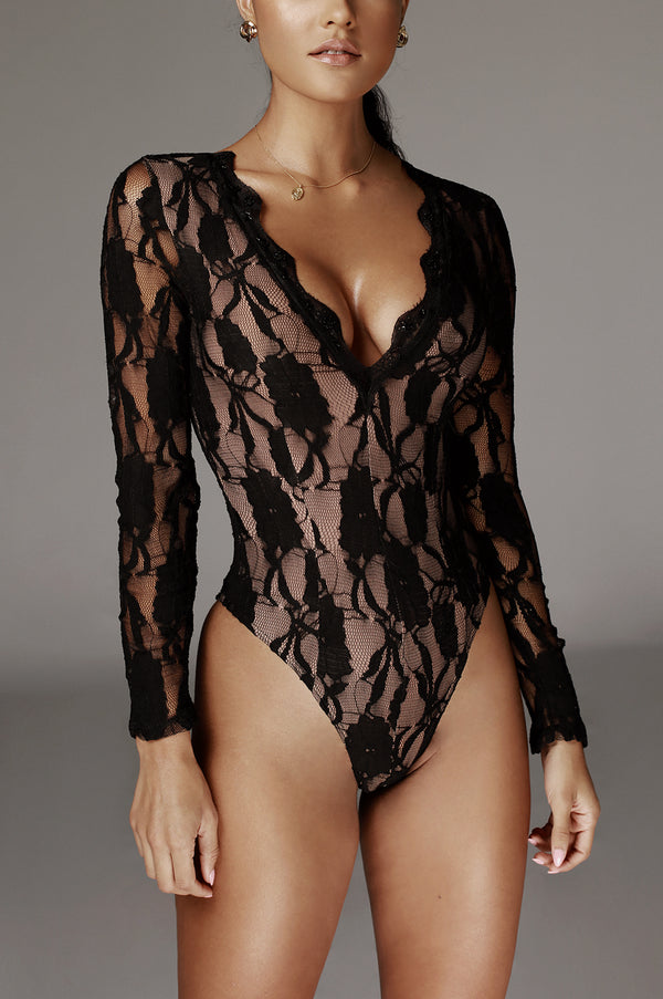 Black Marie Laced Bodysuit