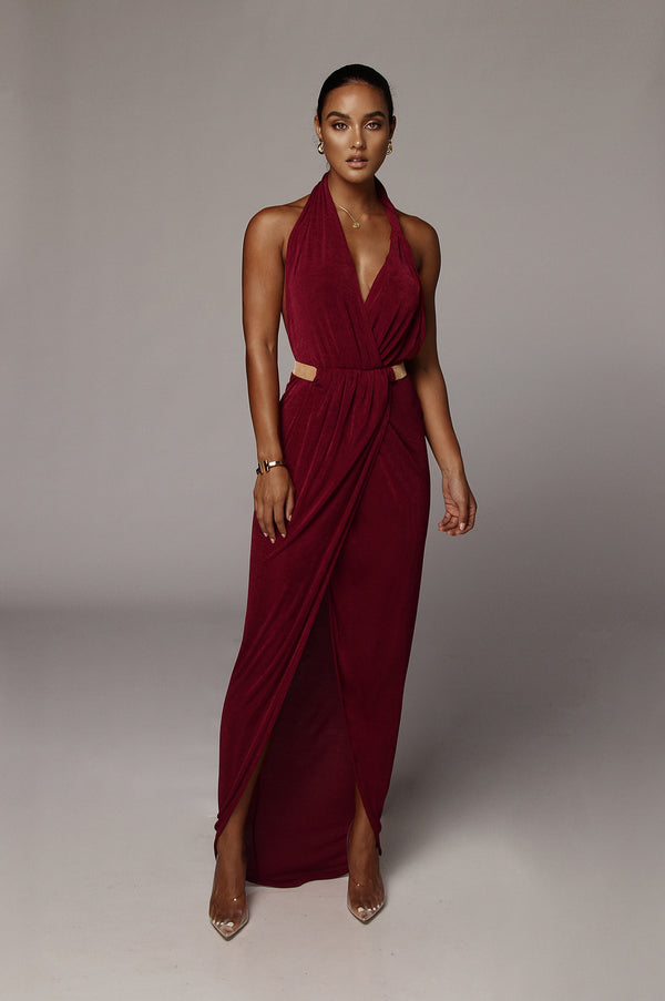 Wine Mckenna Backless Dress