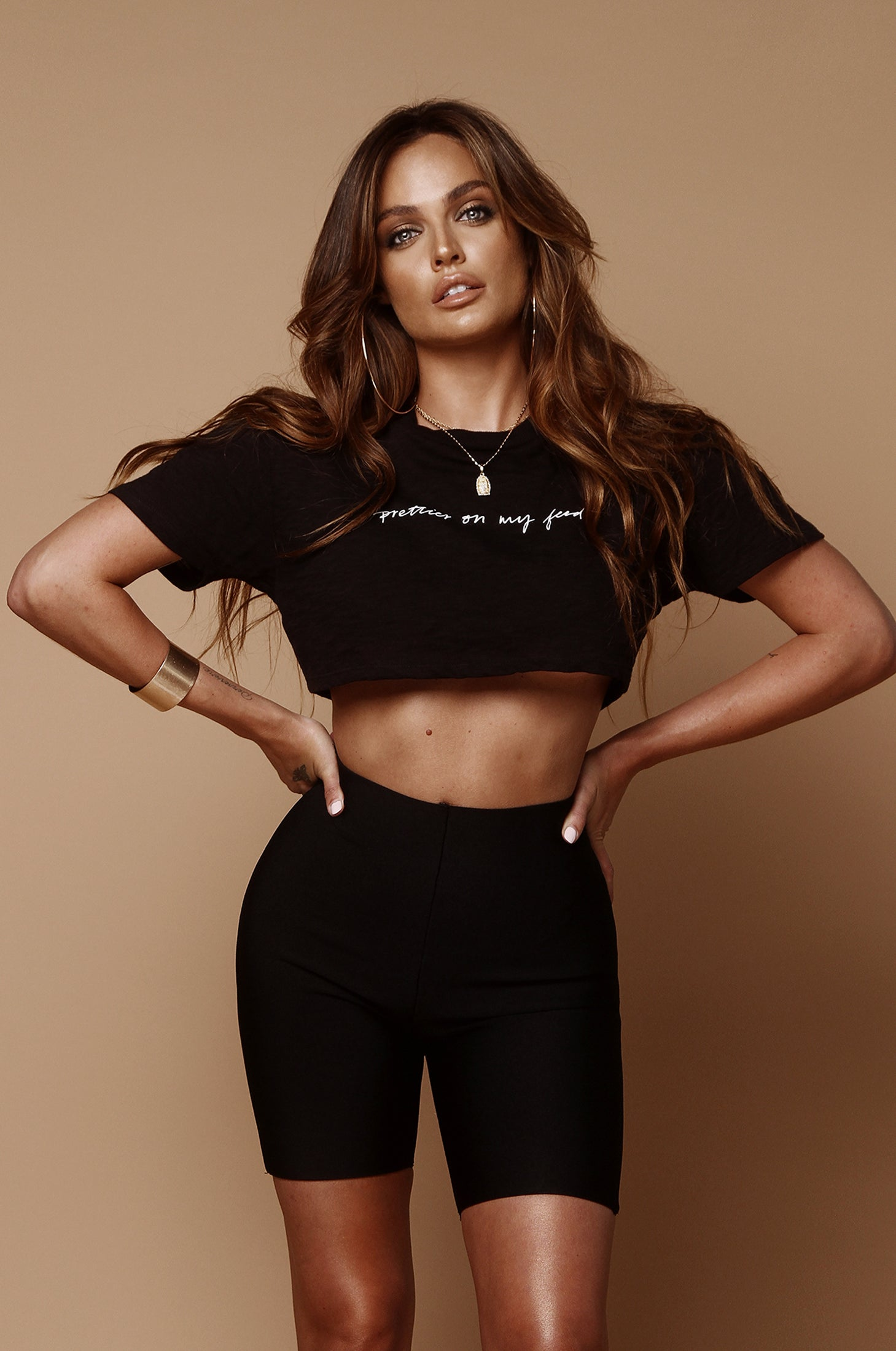 Black Prettier On My Feed Crop Tee