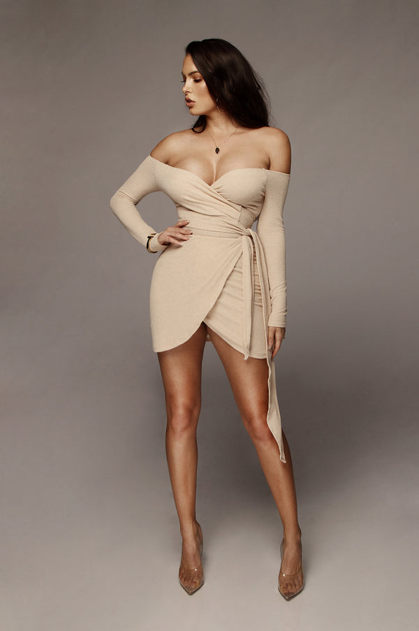 Beige Ada Wrap Tie Dress