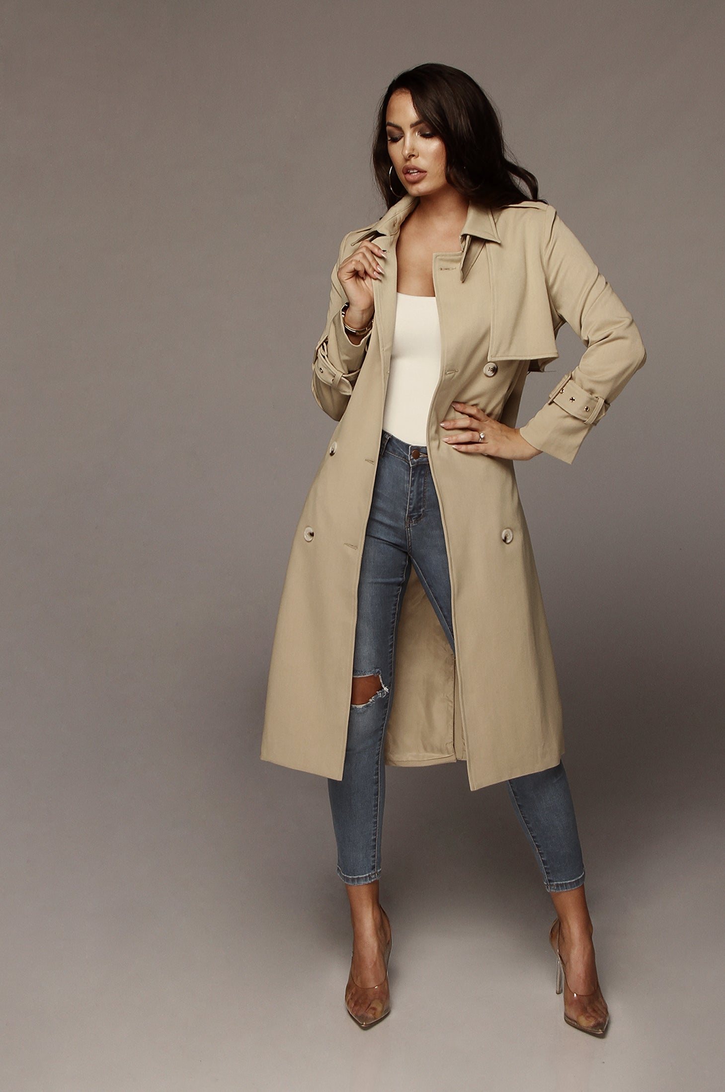 c3ebe3bbcbea Beige Allie Trench Coat – JLUXLABEL