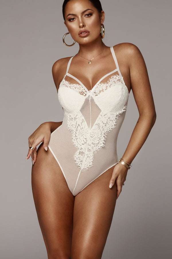 White Bambi Mesh and Lace Bodysuit