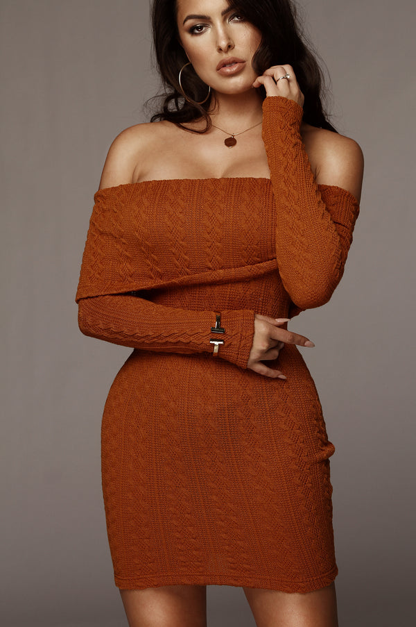 Rust Layla Cable Knit Dress