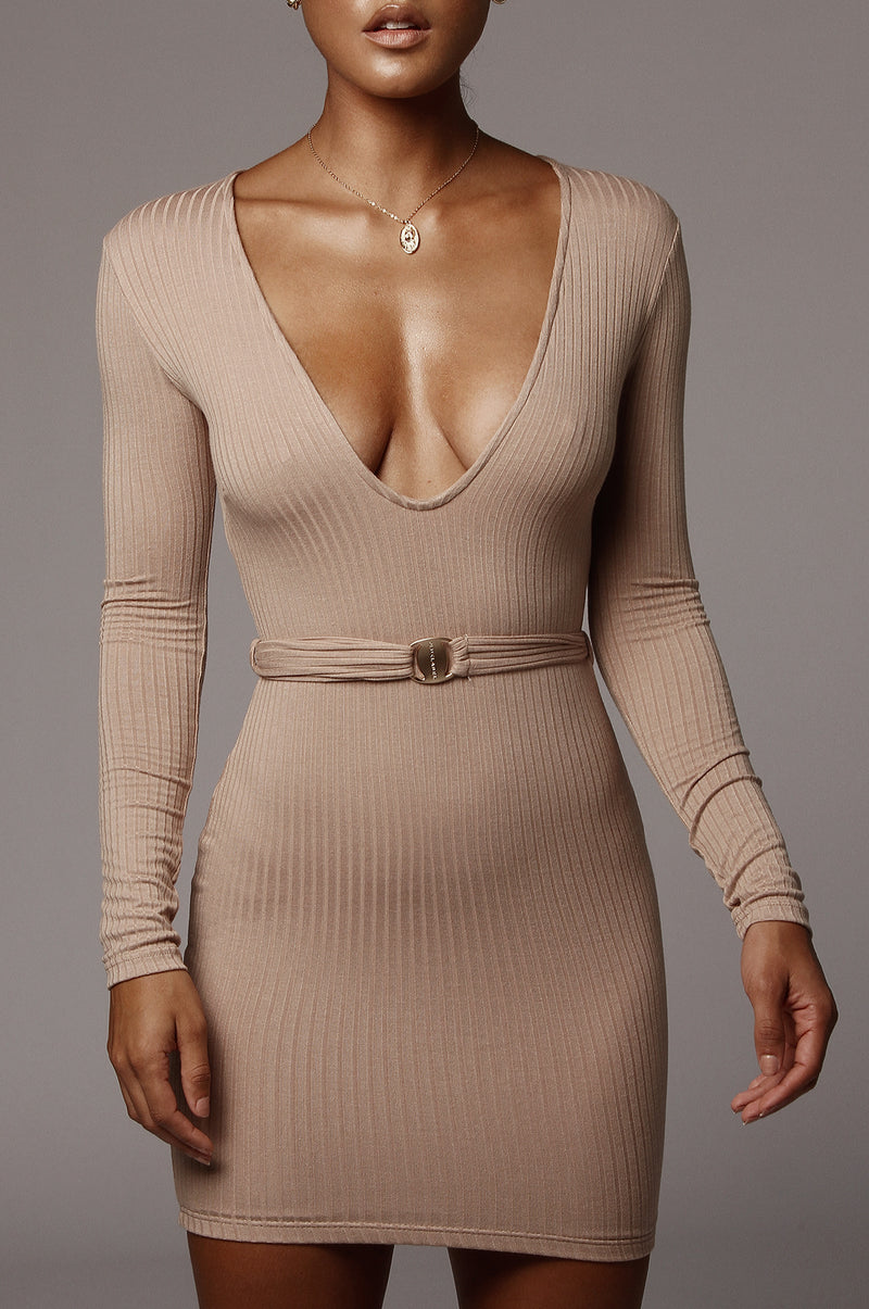 Mocha Alondra Deep V Mini Dress