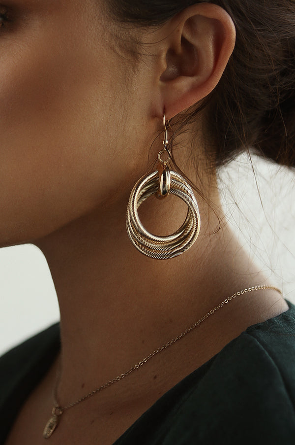 Gold Roped Together Hoops