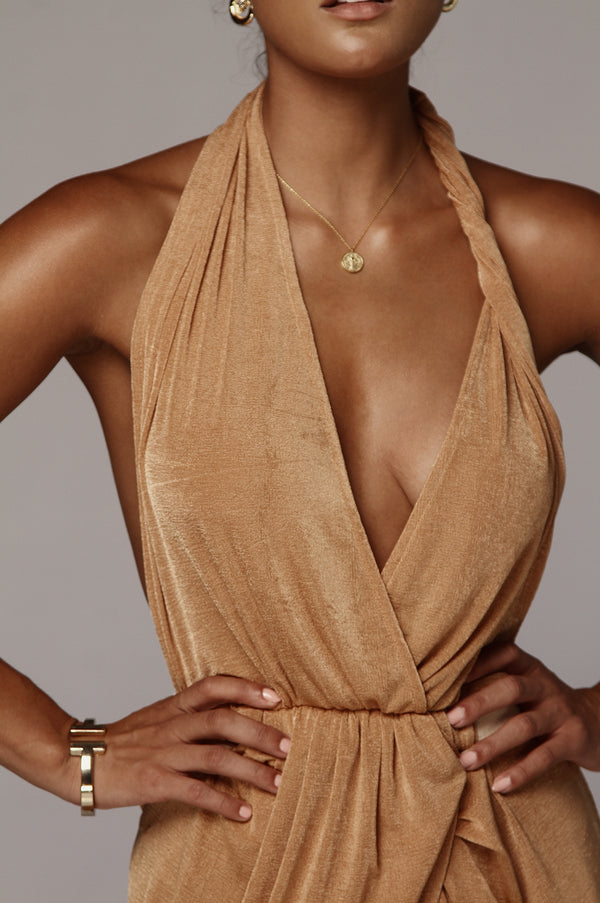 Tan Mckenna Backless Dress