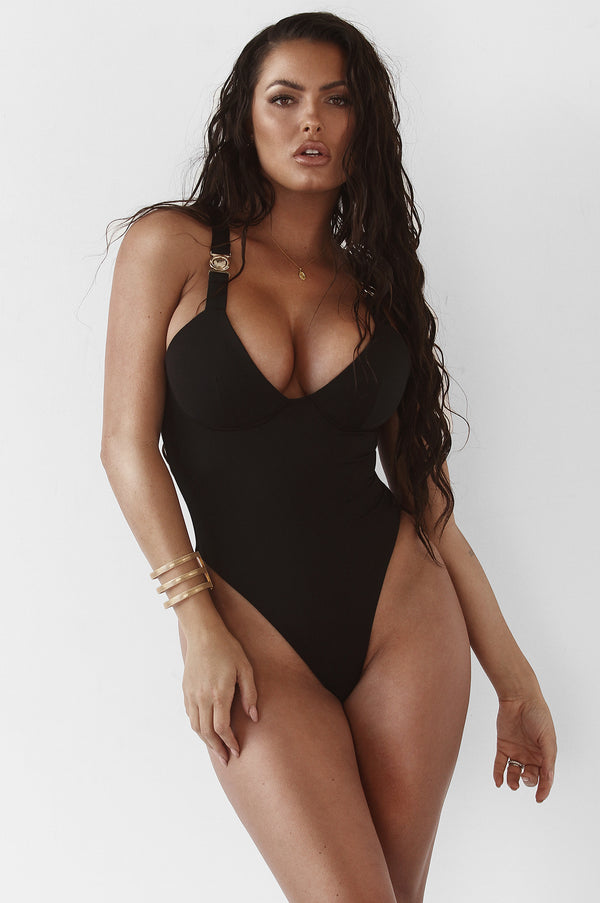 Black Caressa Belted Straps One Piece