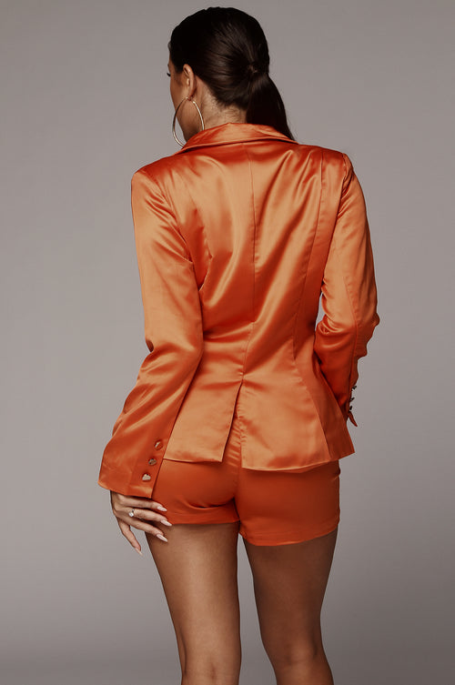 Orange Honor Satin Blazer