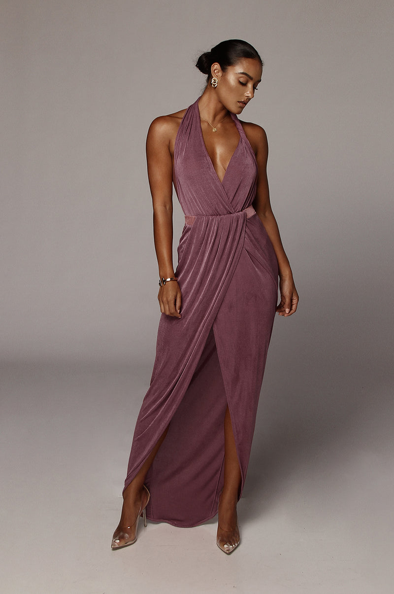 Purple Mckenna Backless Dress