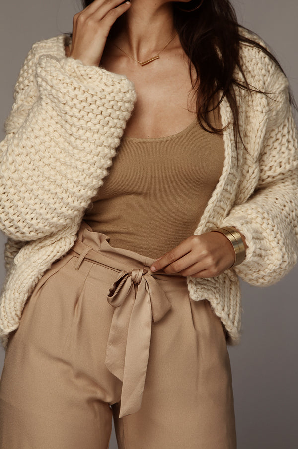 Cream Braided Cable Knit Chunky Sweater