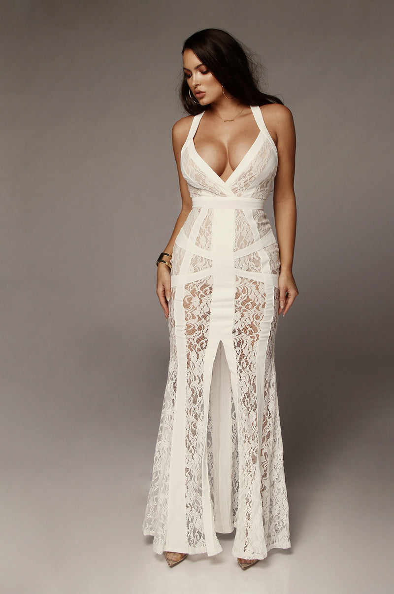 Ivory Lust Lace Bodysuit Maxi Dress