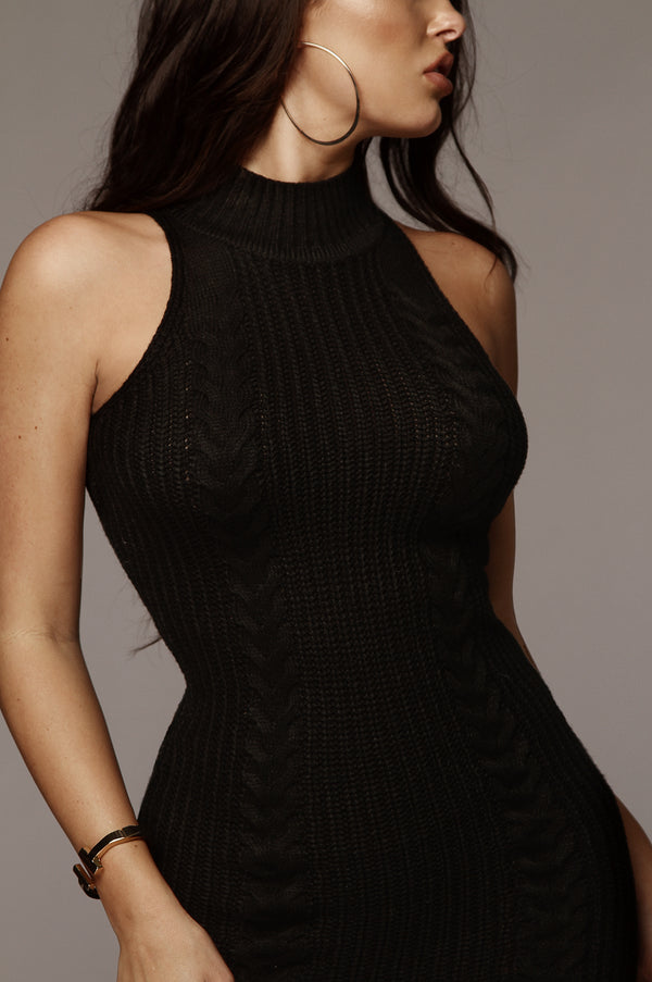 Black Cecilia Knit Turtleneck Dress
