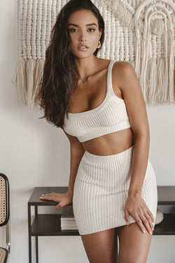 Ivory Reza Ribbed Sweater Set