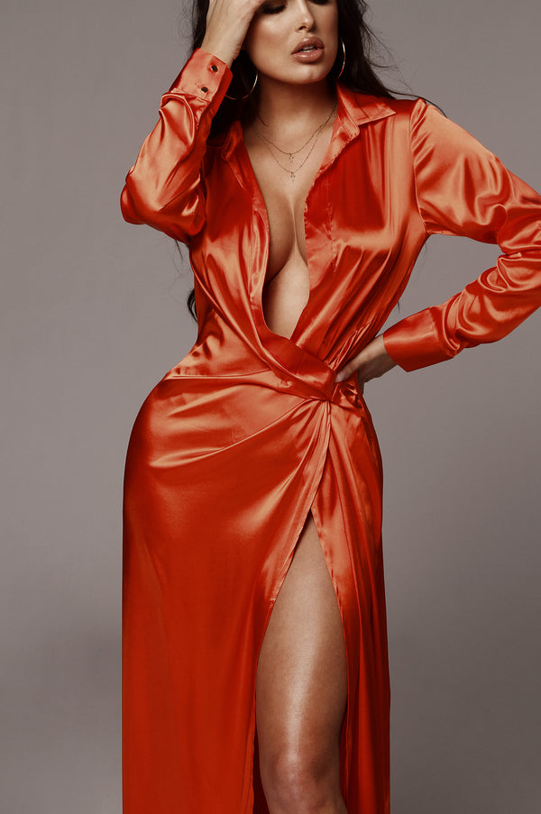 Tangerine Solange Plunging Maxi Dress