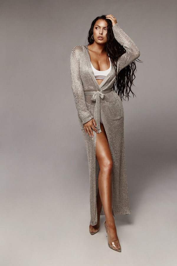 Silver Metallic Kristin Cardigan Dress