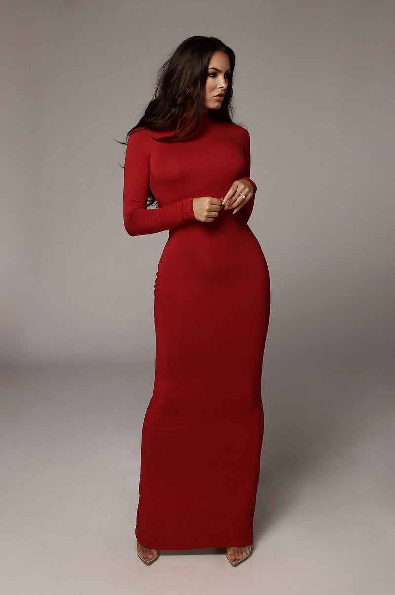 Deep Red Cheyanne Mock Neck Dress