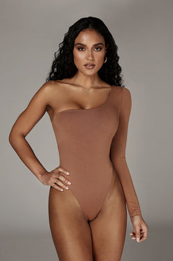 Pecan Marvel JLUXBASIX One Shoulder Bodysuit