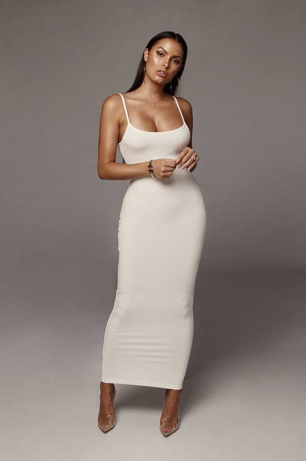 Ivory Tyra Ribbed Simple Dress