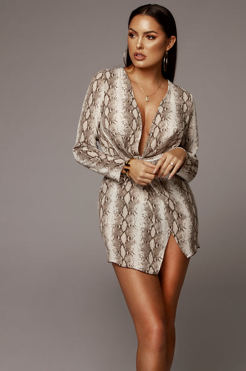 Cici Snakeskin Dress