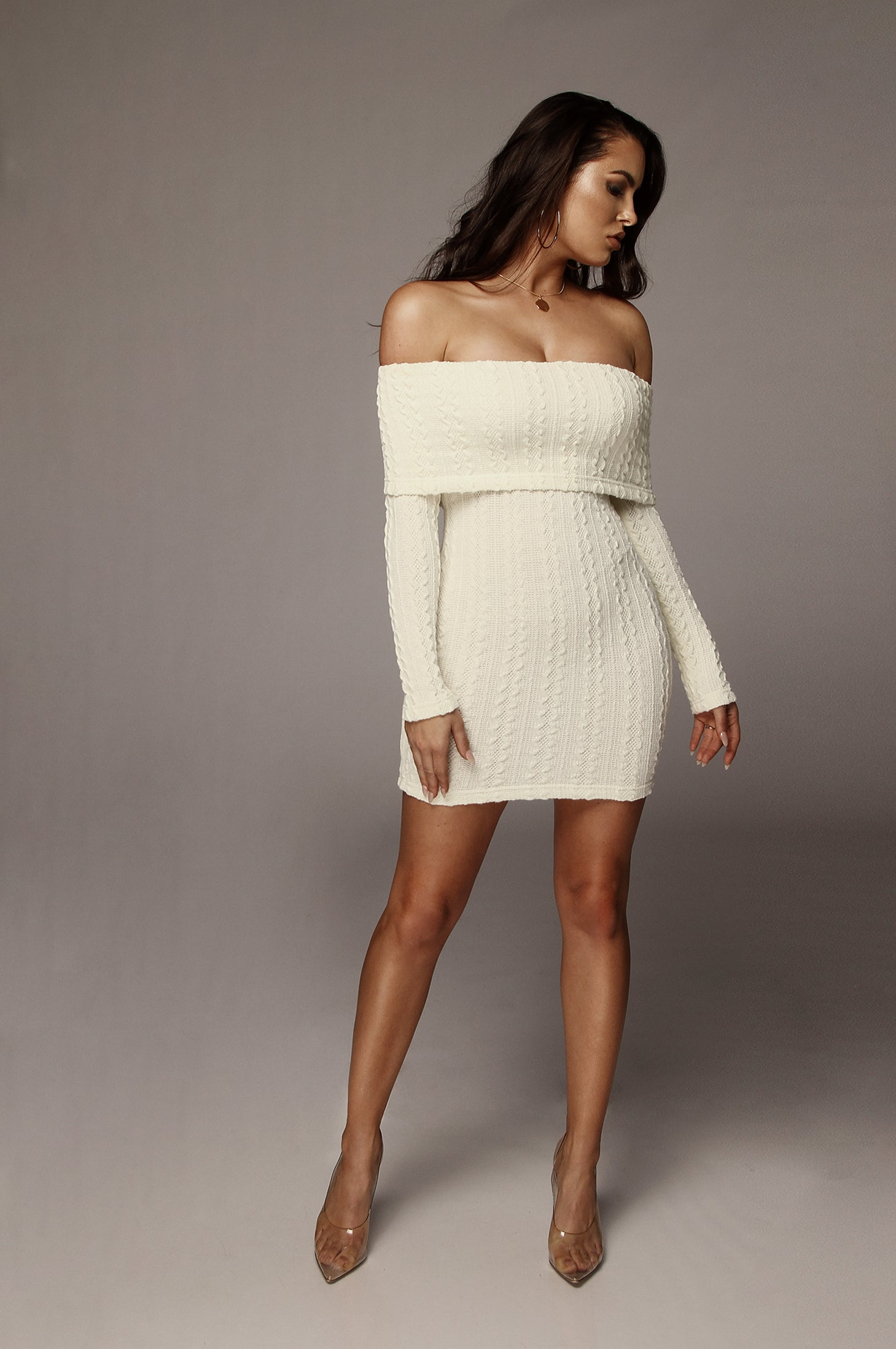 Ivory Layla Cable Knit Dress – JLUXLABEL d3f9f0225