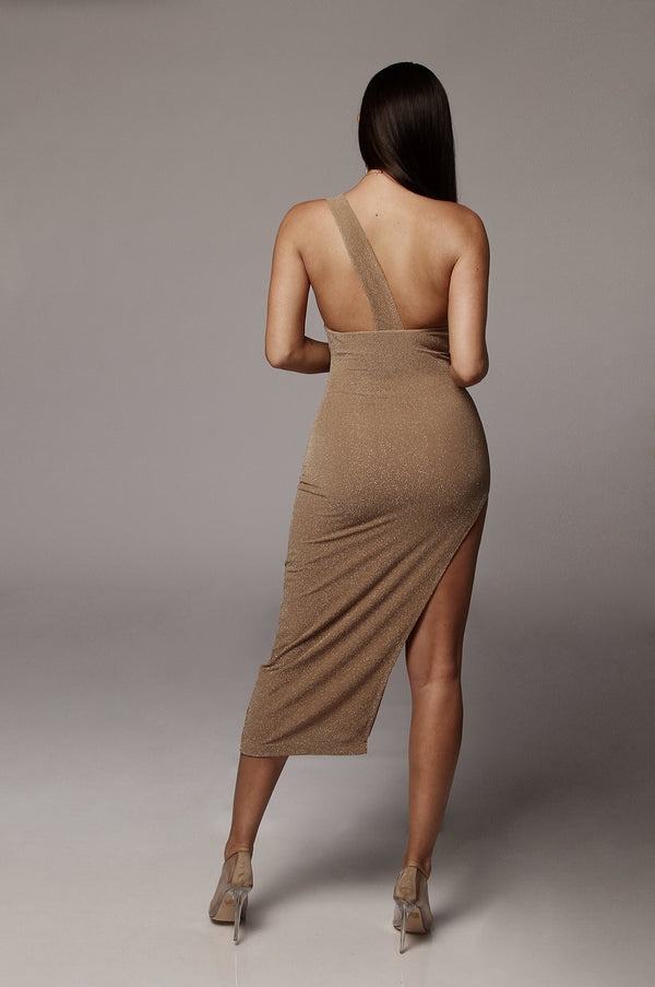Beige Gabriela One Shoulder Strap Dress