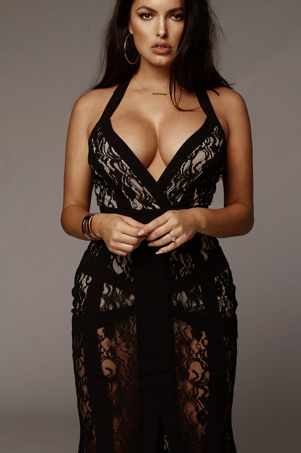 Black Lust Lace Bodysuit Maxi Dress