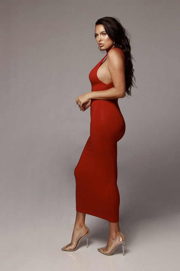 Red Perfection JLUXBASIX Low Side Dress