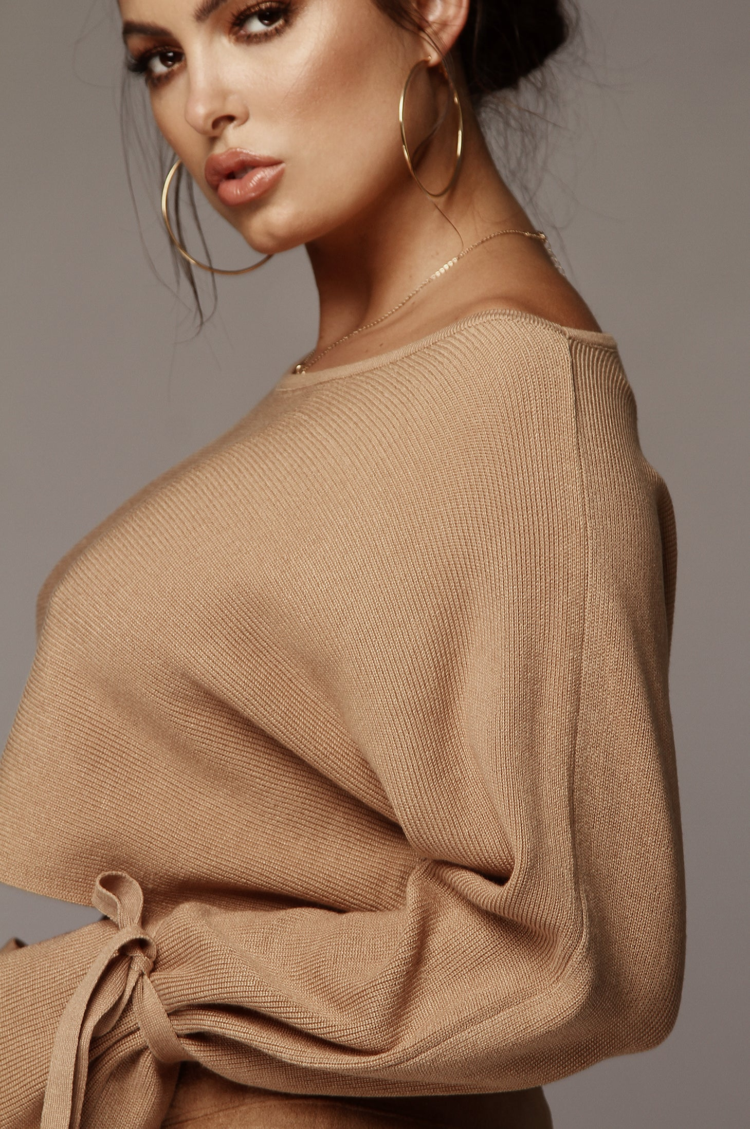 Tan Chantel Cropped Tie-Sleeve Sweater
