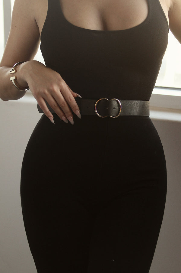 Black Thin Faux leather Double Belt