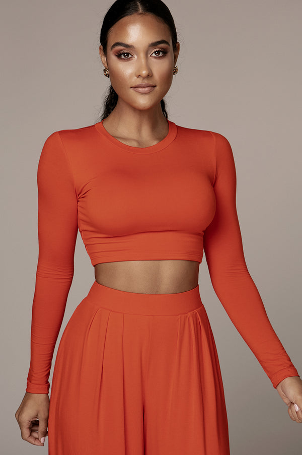 JLUXBASIX ORANGE MARCIA SMOOTH CROP TOP