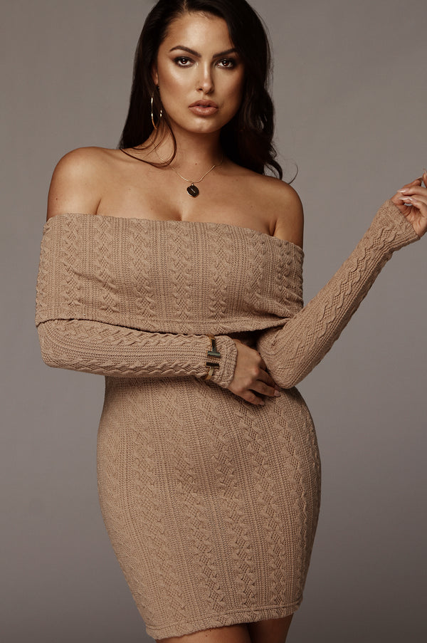 Tan Layla Cable Knit Dress