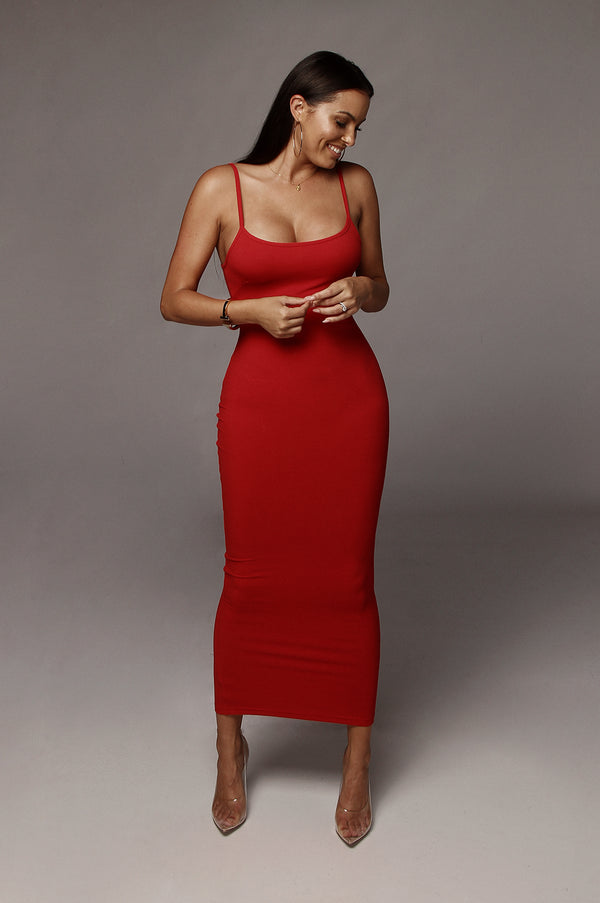 Red Tyra Ribbed Simple Dress
