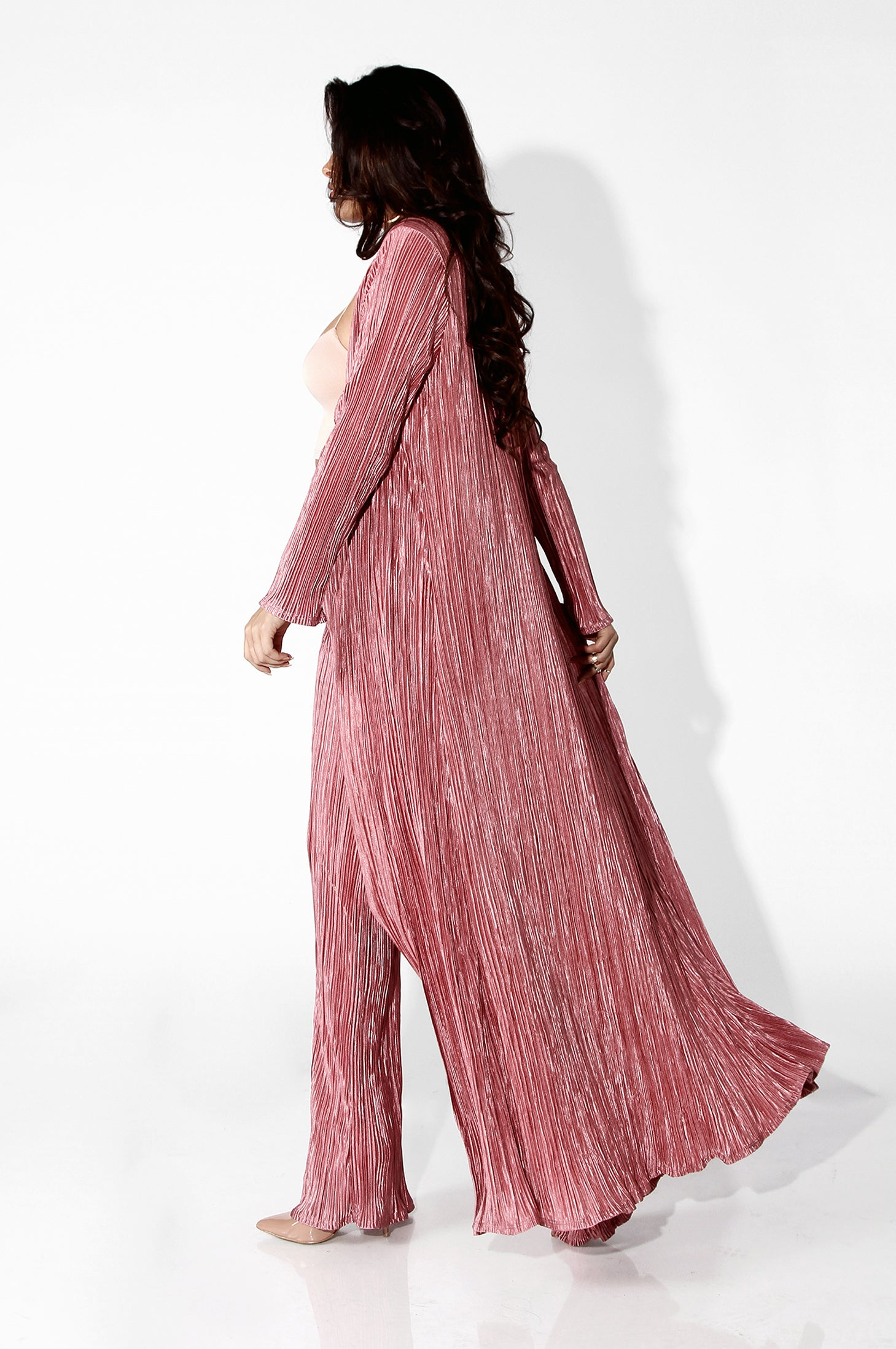 Mauve Champagne Draped Duster