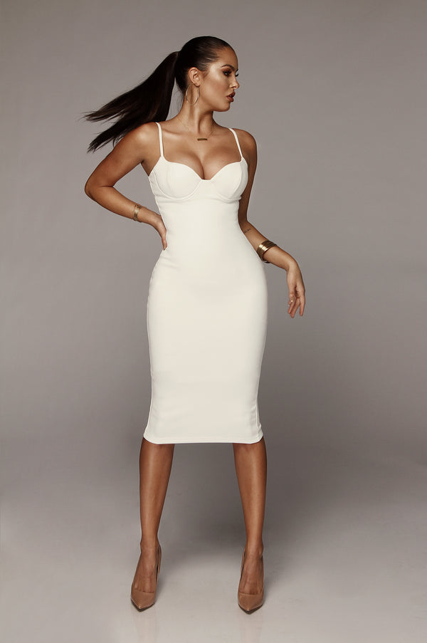 White Mandy Suede Bustier Dress