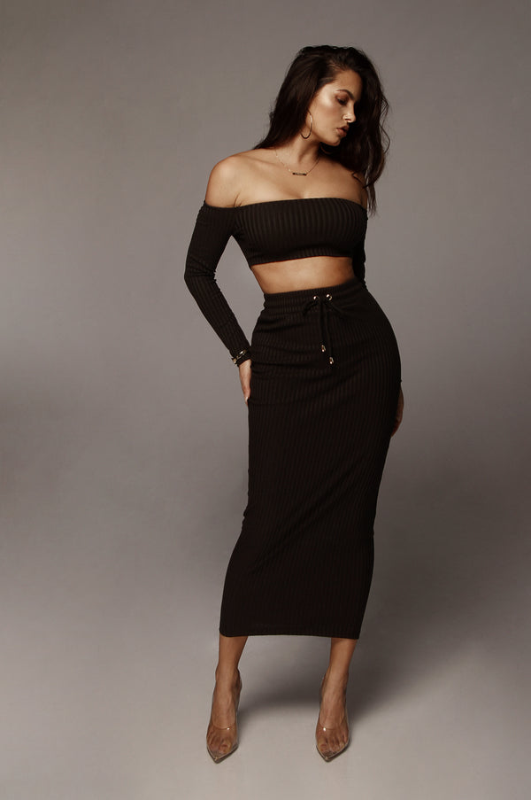Black Micaela Ribbed Set