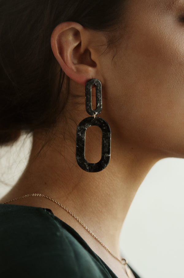 Black Marble Drop Earrings