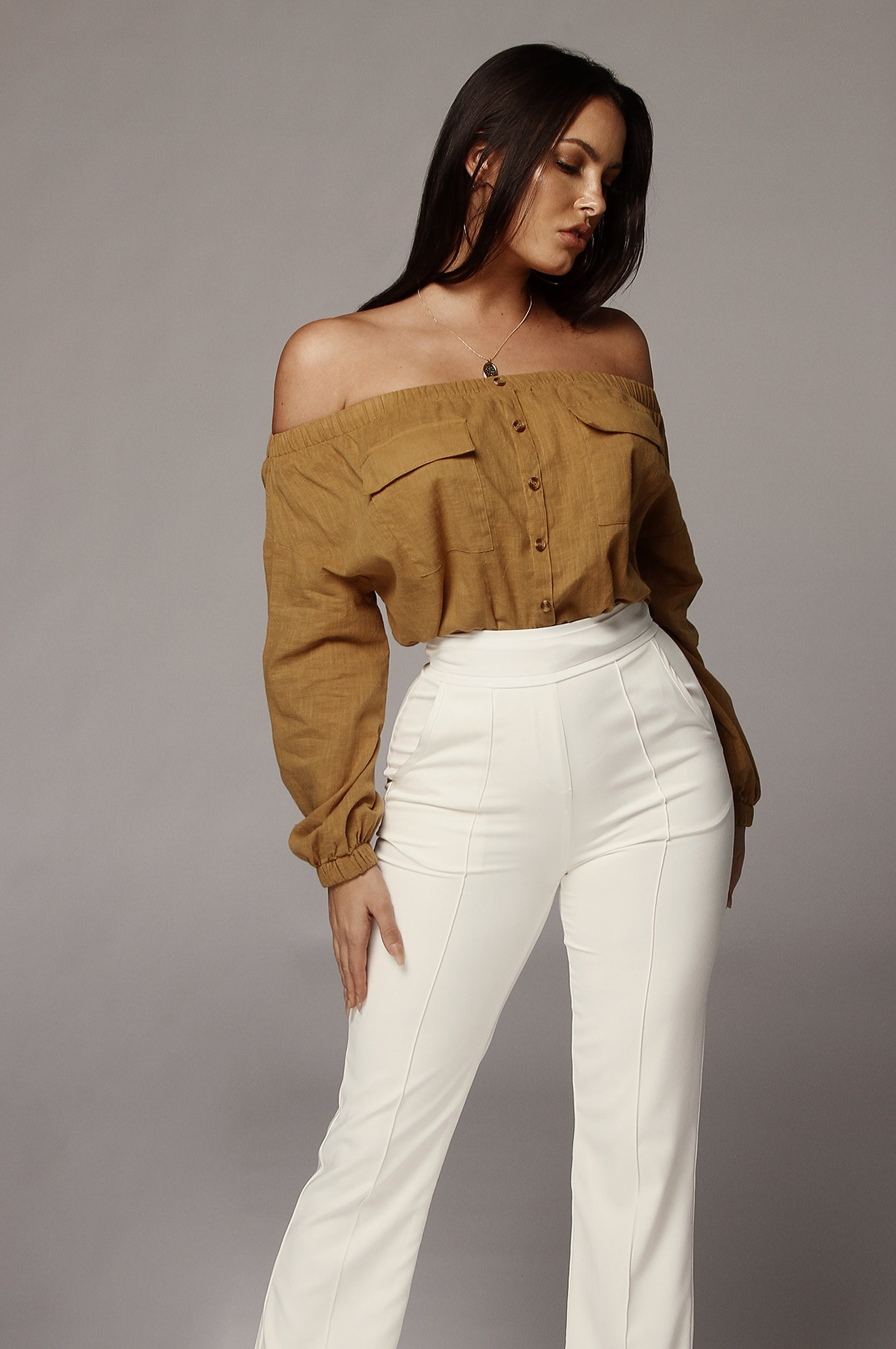 Mustard Dixie Off Shoulder Top