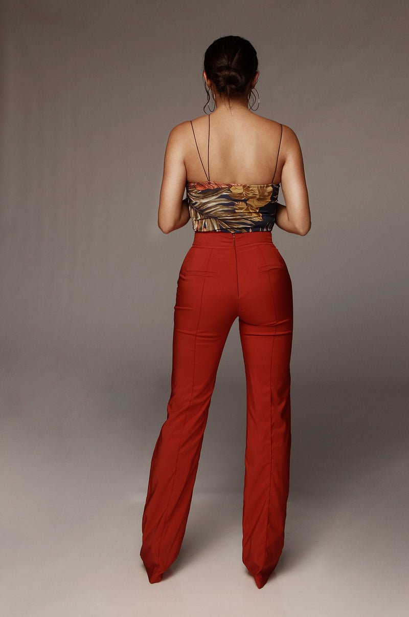 Rust Red Modern High Waisted Trouser
