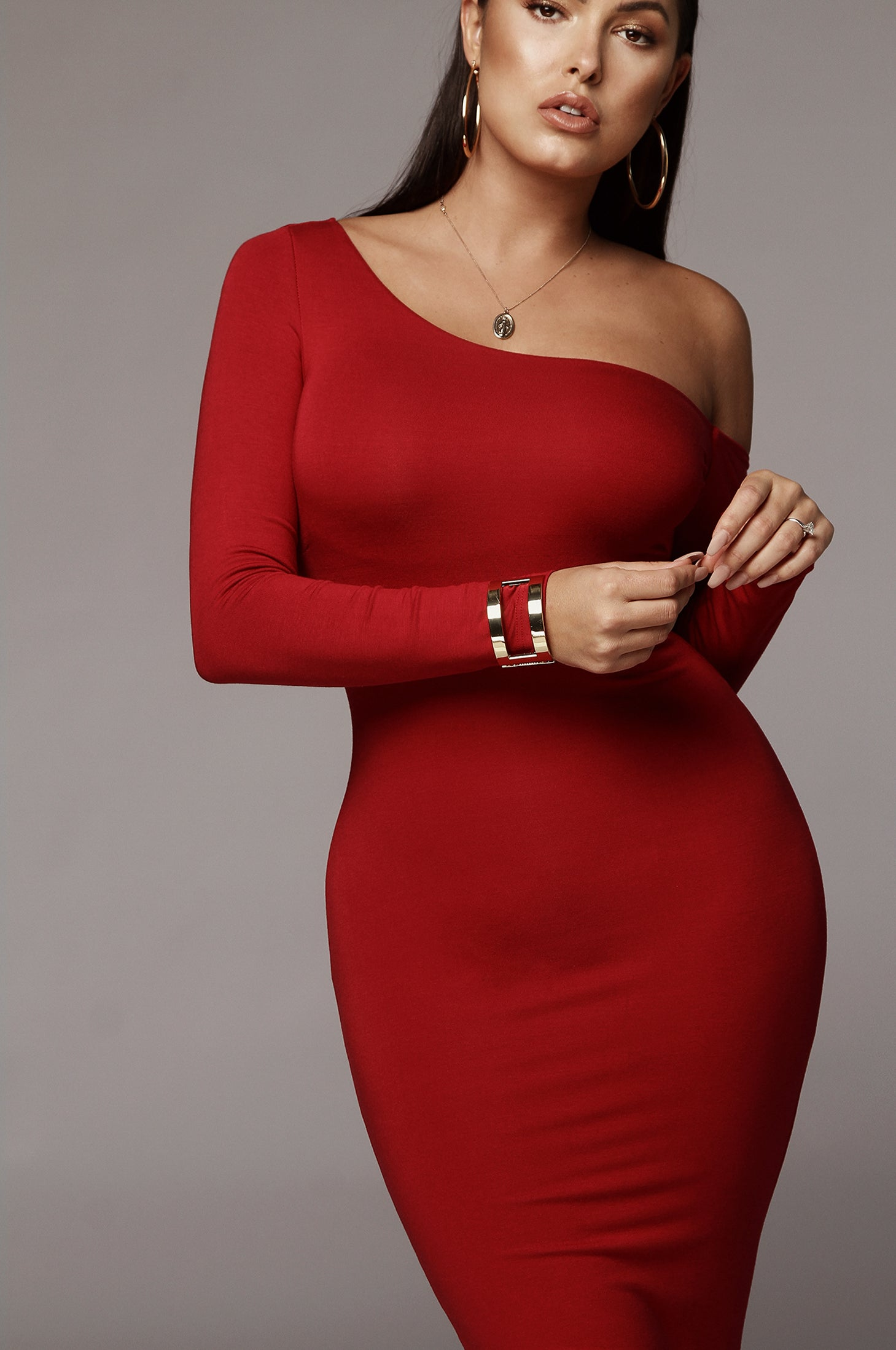 Red Serene One Shoulder JLUXBASIX Dress