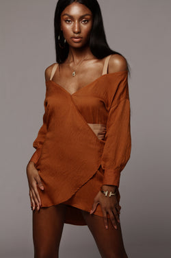 Rust Two-Toned Mini Dress