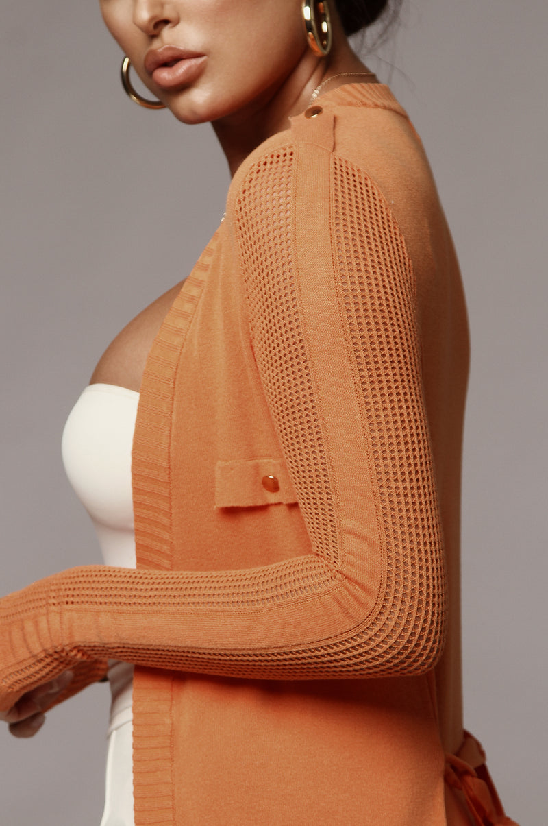 Orange Cindy Grid Cardigan
