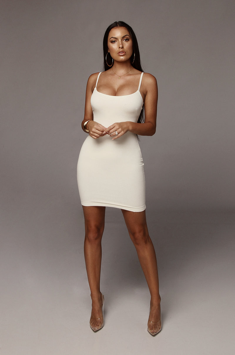 Ivory Gem Ribbed Tank Dress
