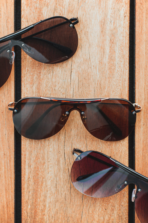 Brown Kadeya Aviator Sunglasses