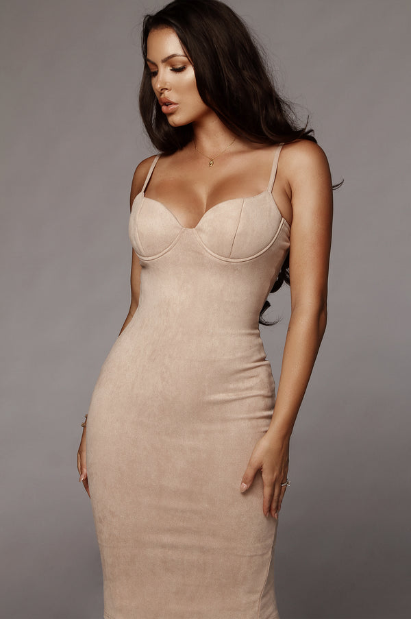 Rose Beige Mandy Suede Bustier Dress