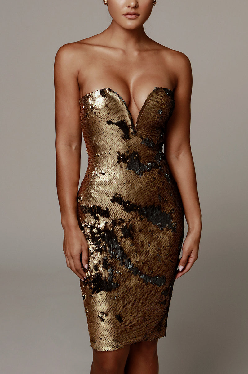Gold Omna Sequin Dress