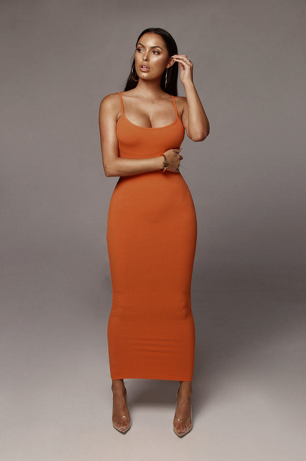 Orange Tyra Ribbed Simple Dress