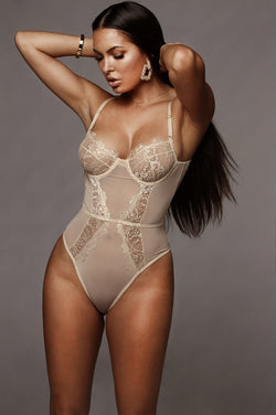 Taupe Honeybee Lace Bodysuit