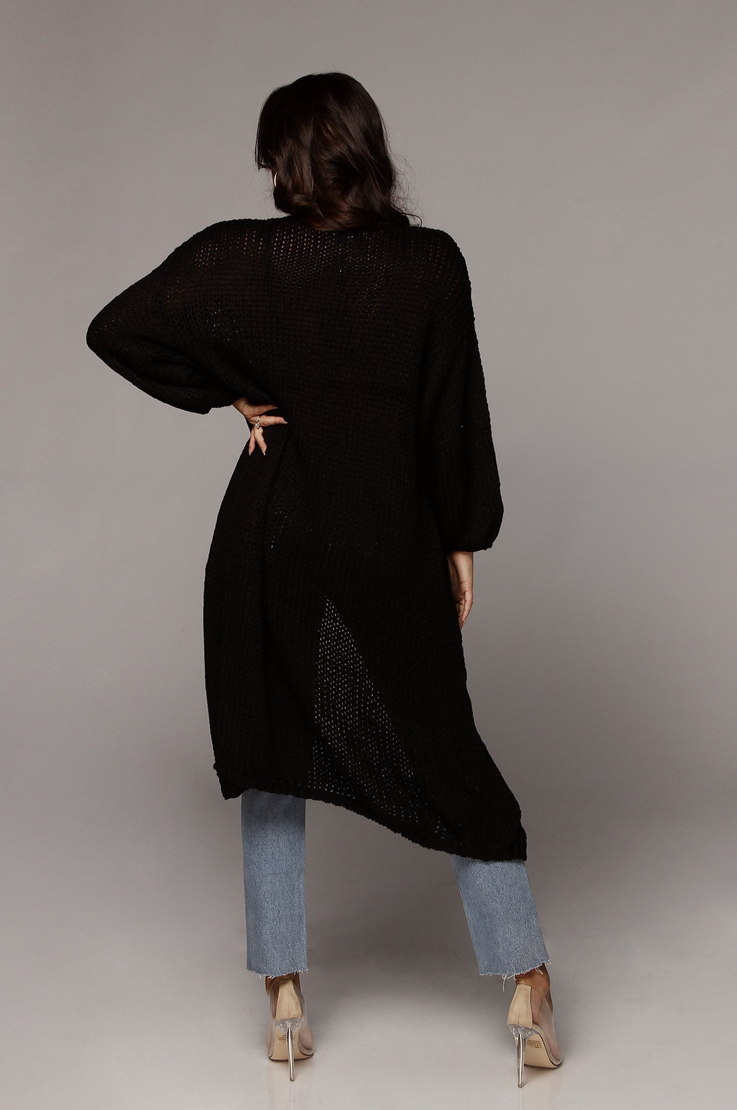 Black Lottie Balloon Sleeve Knit Cardigan