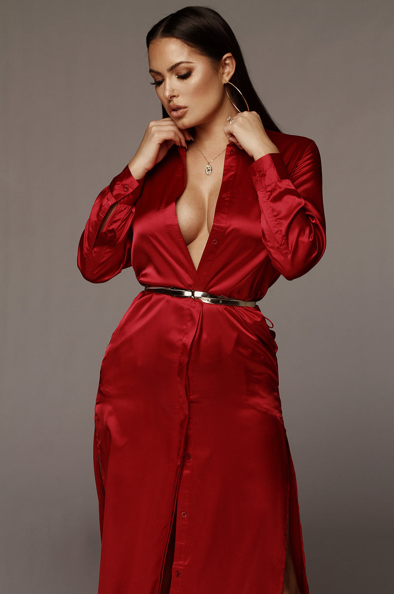 Red Reyna Silk Shirt Dress