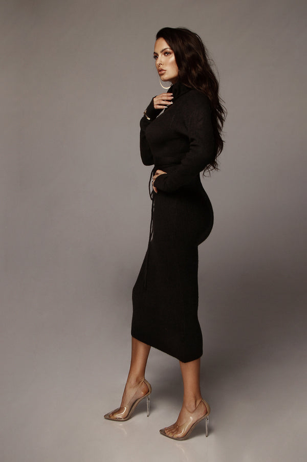Black Aubrey Turtleneck Sweater Dress